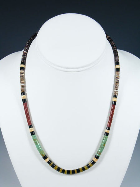 Santo Domingo Single Strand Pipestone and Shell Necklace