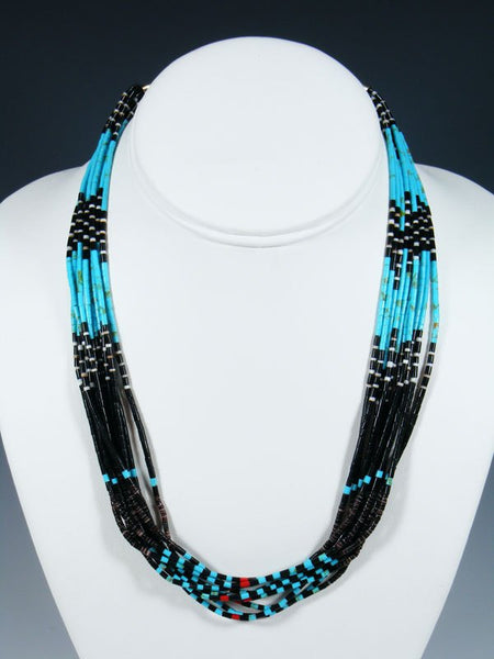 Native American Santo Domingo Turquoise 10 Strand Necklace