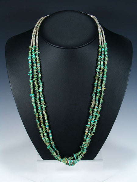 Three Strand Zuni Turquoise Bead and Heishi Necklace