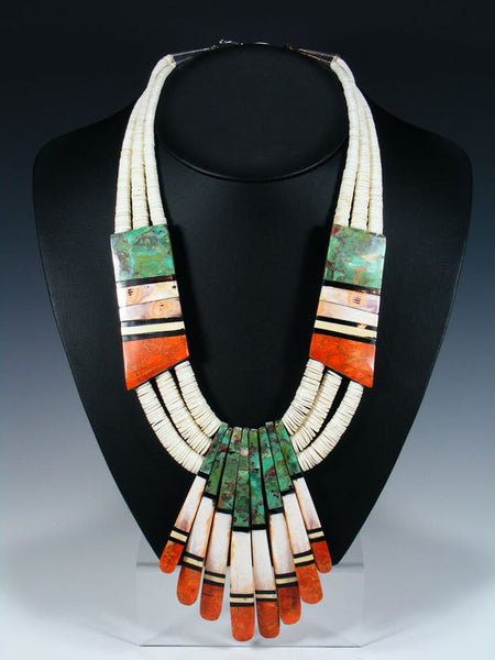 Native American Indian Santo Domingo White Shell Mosaic Necklace