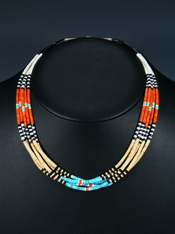 Native American Indian Bead Santo Domingo Multi-Stone Necklace