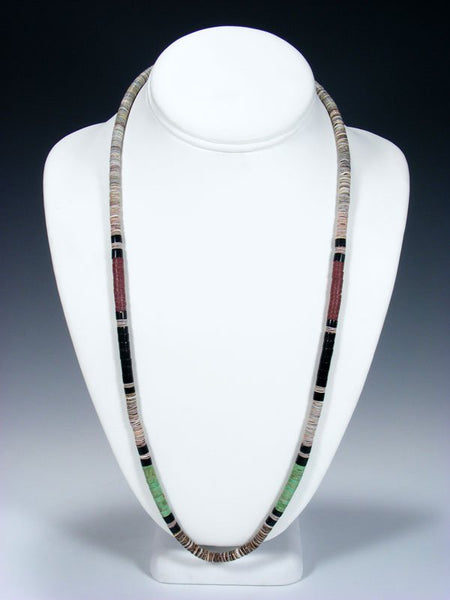 Santo Domingo Single Strand Pipestone and Penn Shell Necklace