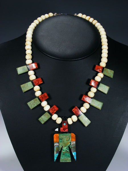 Native American Indian Santo Domingo Mosaic Inlay Thunderbird Necklace