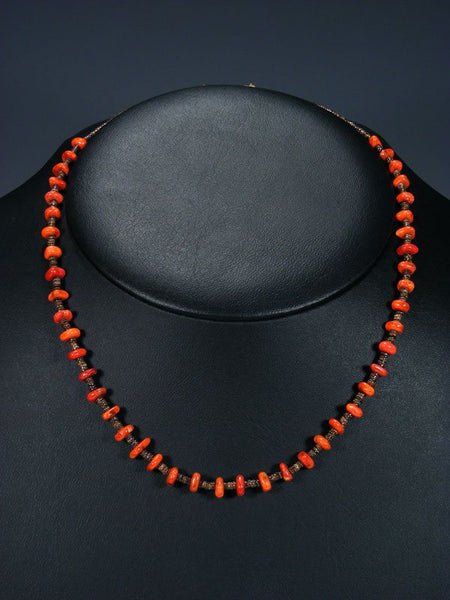Native American Apple Coral Heishi Choker Necklace