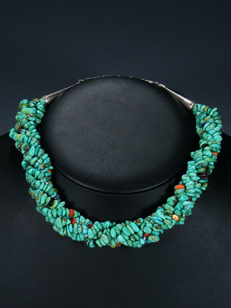 Native American Multi Strand Twist Turquoise Choker Necklace