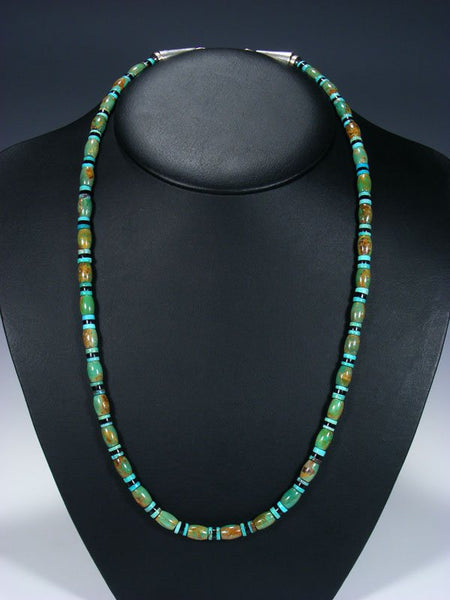 Native American Jewelry Jet and Turquoise Single Strand Necklace