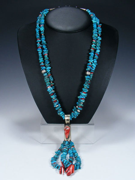 Native American Turquoise and Spiny Oyster Jocla Necklace