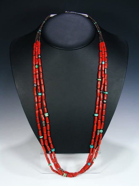 Native American Indian Jewelry Natural Coral Three Strand Necklace