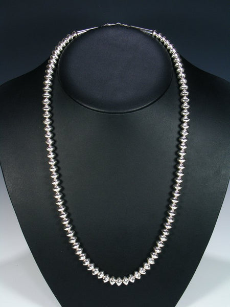 "Native American Sterling Silver 26"" Navajo Pearl Bead Necklace"