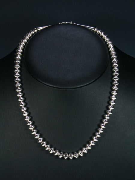 "Native American Sterling Silver 20"" Navajo Pearl Bead Necklace"