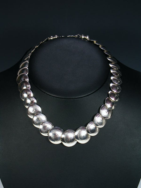 "18"" Native American Sterling Silver Disc Bead Necklace"