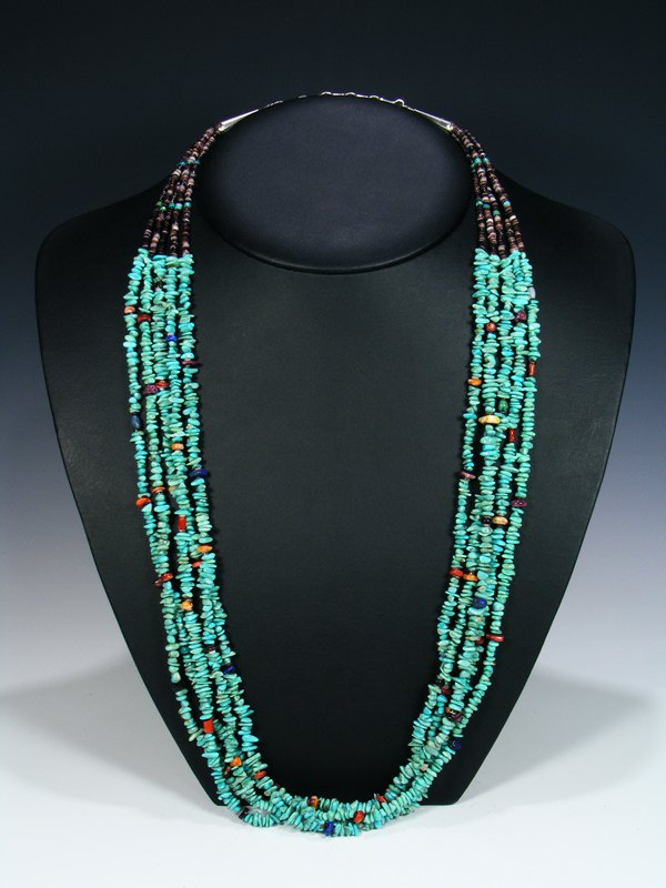Native American Indian Santo Domingo Turquoise Five Strand Necklace