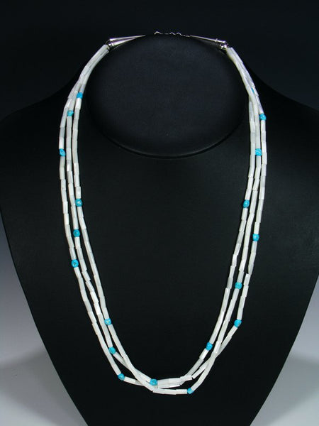 Native American Multi Strand Turquoise and Mother of Pearl Necklace