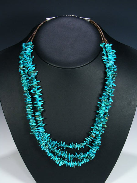 Three Strand Turquoise and Brown Shell Heishi Necklace