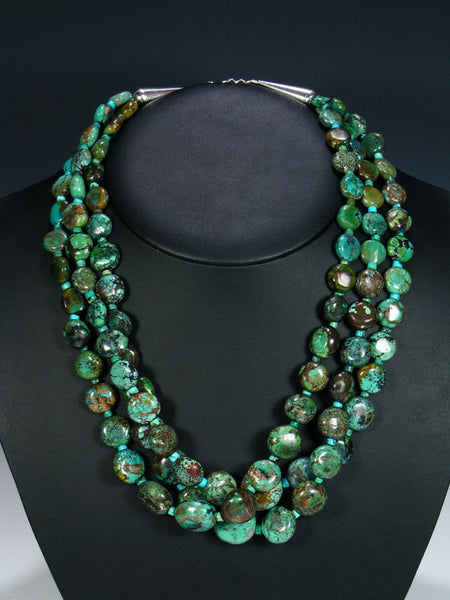 Native American Triple Strand Hubei Turquoise Necklace