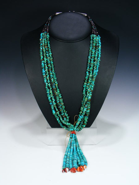 Santo Domingo Four Strand Turquoise and Spiny Oyster Jocla Necklace