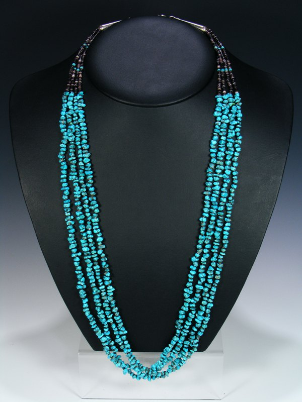 Native American Indian Santo Domingo Turquoise Four Strand Necklace