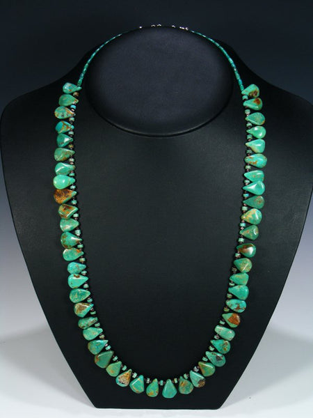 Native American Indian Santo Domingo Turquoise Tear Drop Necklace