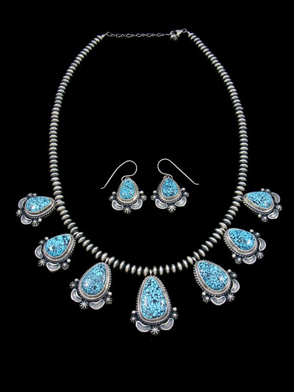 Kingman Blackweb Turquoise Tear Drop Necklace and Earring Set