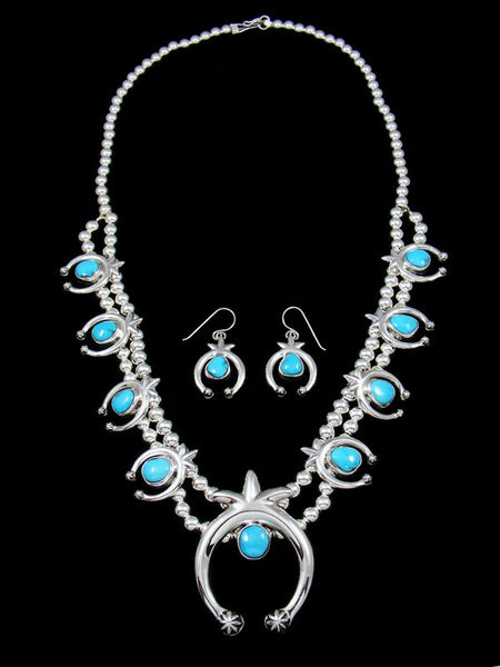 Native American Sleeping Beauty Turquoise Squash Blossom Necklace and Earrings Set