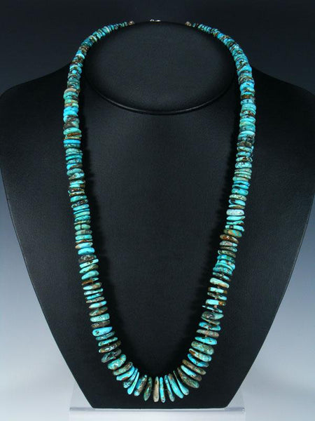 "28"" Native American Indian Jewelry Single Strand Turquoise Necklace"