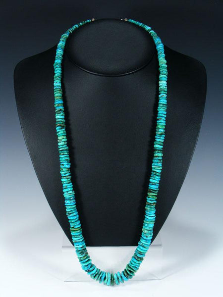 Extra Long Native American Indian Jewelry Single Strand Turquoise Necklace