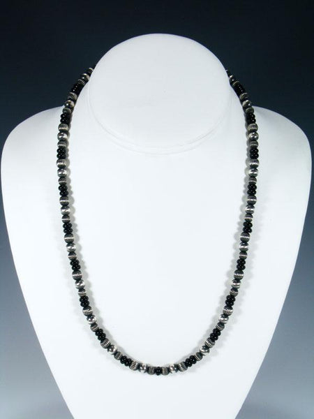 "20"" Navajo Black Onyx Sterling Silver Bead Necklace"