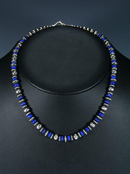 "18"" Navajo Blue Lapis Sterling Silver Bead Necklace"