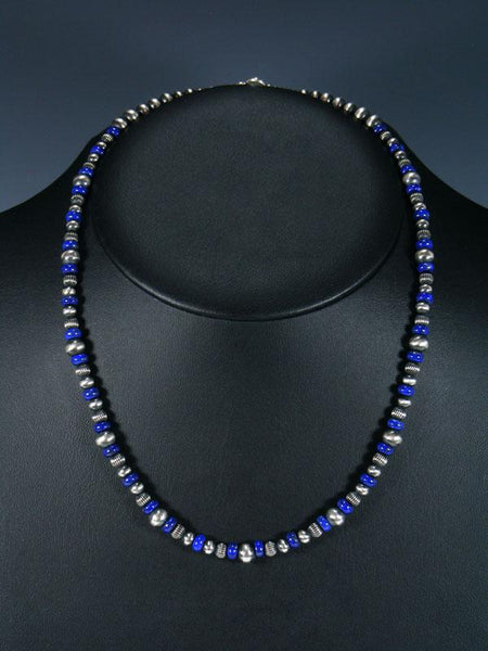 "20"" Navajo Blue Lapis Sterling Silver Bead Necklace"