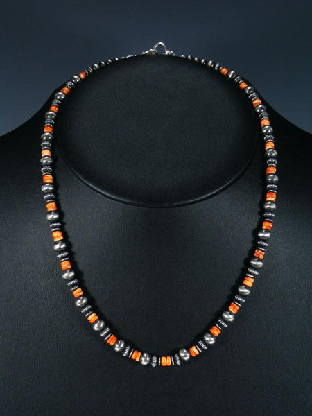"20"" Spiny Oyster and Sterling Silver Bead Necklace"