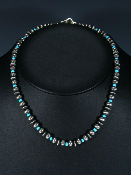 "18"" Navajo Sleeping Beauty Turquoise Sterling Silver Bead Necklace"
