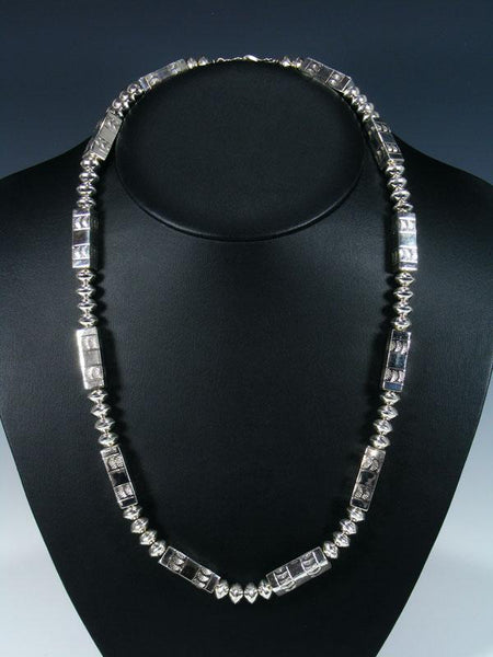 Native American Sterling Silver Navajo Barrel Bead Necklace