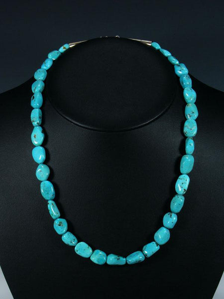 "22"" Native American Indian Jewelry Single Strand Turquoise Necklace"