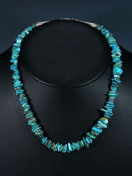 "19"" Native American Indian Jewelry Single Strand Turquoise Necklace"