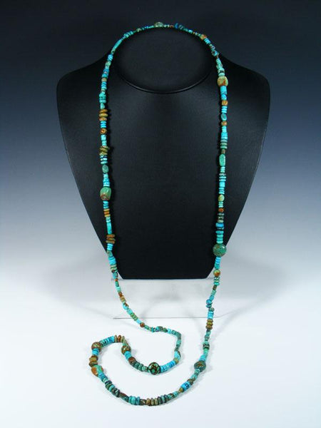 Native American Long Single Strand Blue and Green Turquoise Necklace