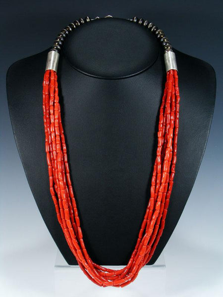 Native American Multi Strand Natural Mediterranean Coral Necklace