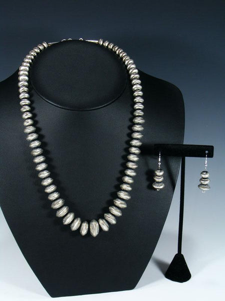 Native American Graduated Sterling Silver Bead Necklace Set
