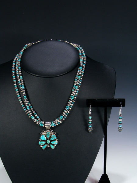 Native American Sterling Silver Turquoise Naja Style Beaded Necklace Set