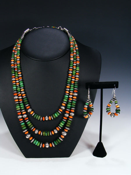 Native American Green Allunite Spiny Oyster Bead Necklace Set