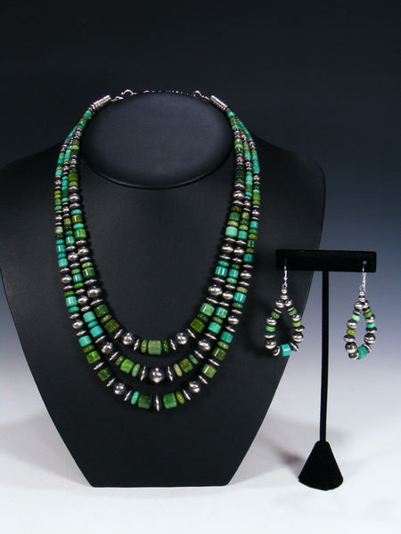 Native American Green Allunite Bead Necklace Set