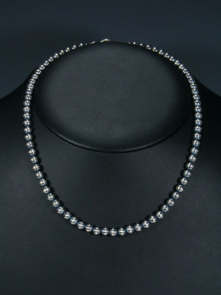 "18"" Native American Sterling Silver Bead Necklace"