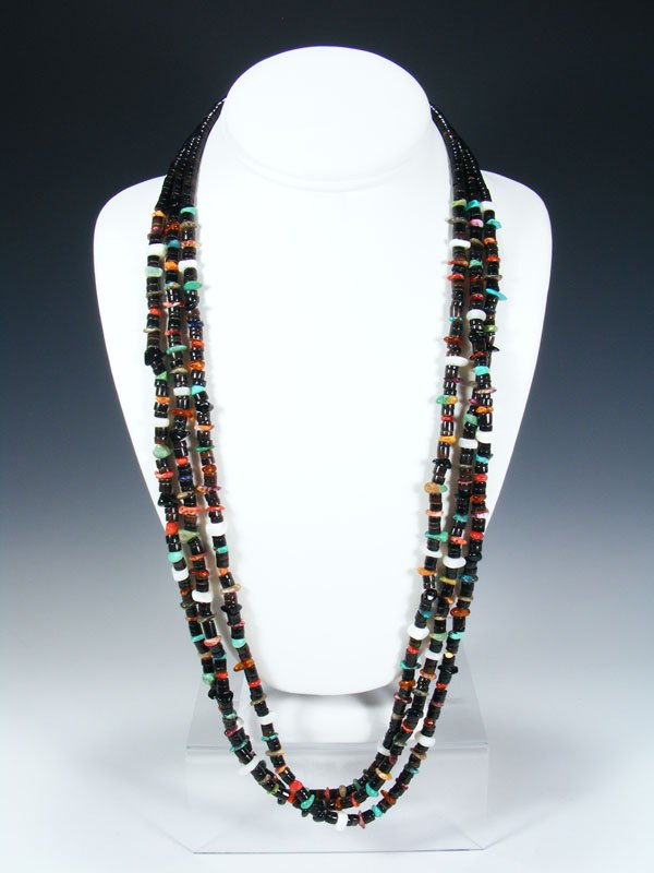 Native American Turquoise Spiny Oyster Heishi Triple Strand Necklace