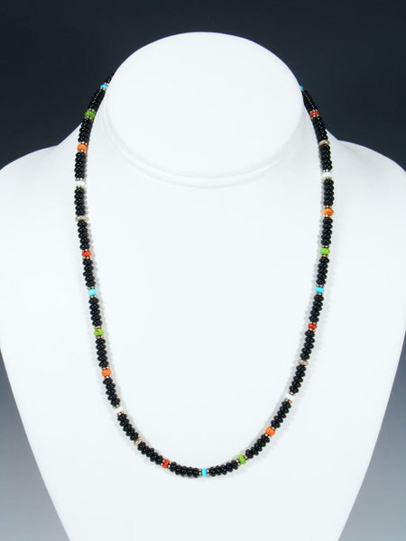 Native American Onyx Multi Stone Bead Necklace