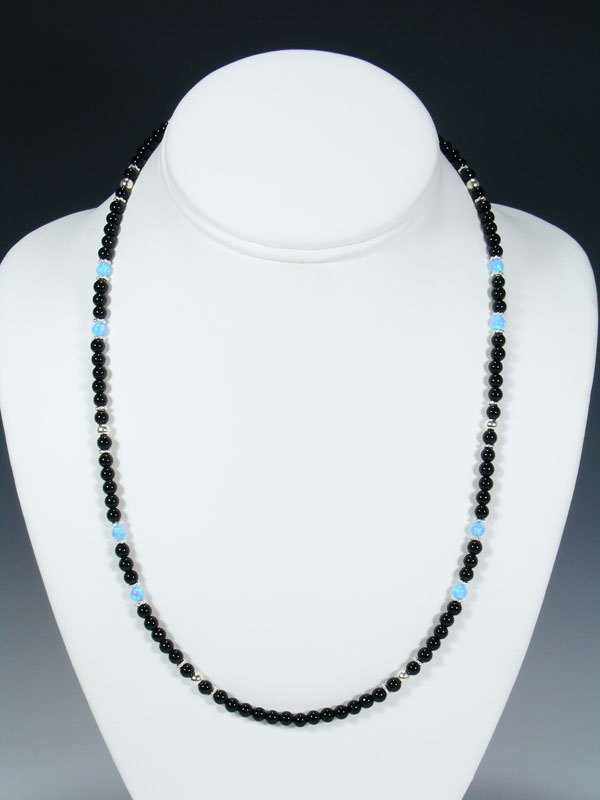 Native American Onyx and Opalite Bead Necklace