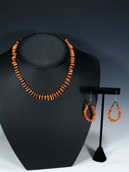Native American Spiny Oyster and Heishi Single Strand Necklace Set
