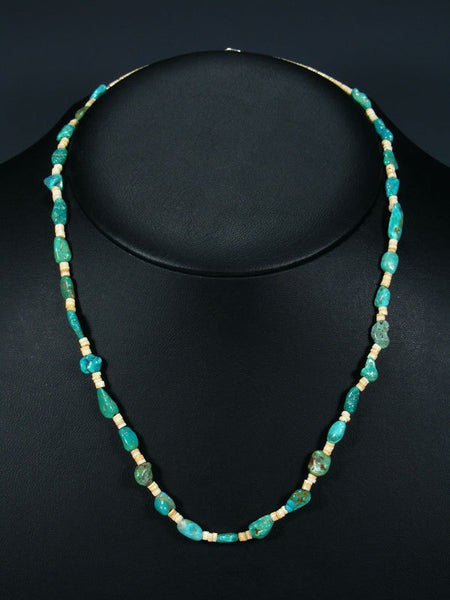 Shell Heishi and Turquoise Single Strand Necklace