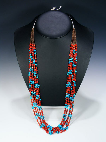 Native American Santo Domingo Natural Coral and Turquoise Necklace