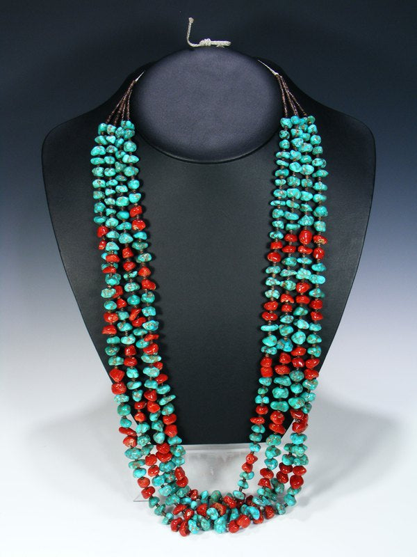 Native American Santo Domingo Red Coral and Turquoise Necklace