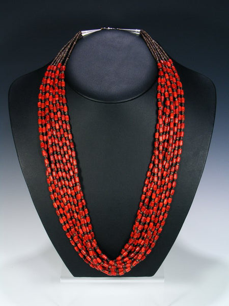 Native American Coral Heishi Ten Strand Necklace