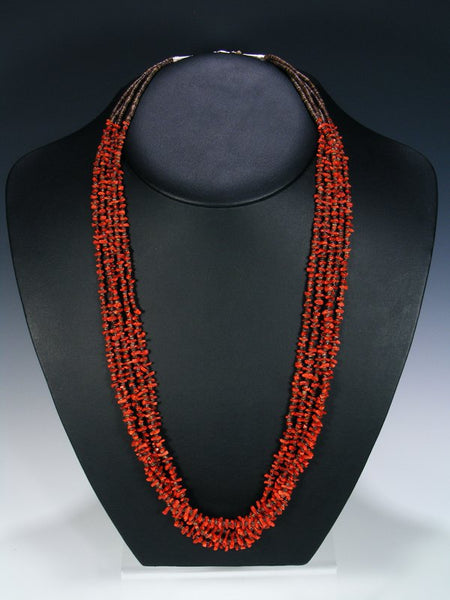 Native American Santo Domingo Five Strand Natural Coral Necklace